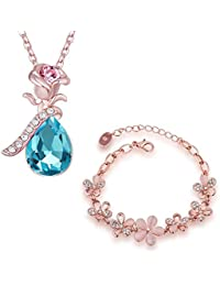 Om Jewells Rose Gold Plated Floral Inspired Bracelet And Pendant Necklace Combo Set With Crystal Stones CO1000055