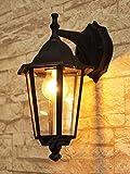 Schwarze Wand-Energiespar-Außenleuchte 11 Watt IP43 down aus Aluguss Außenlampe Wandleuchte Lampe Leuchte