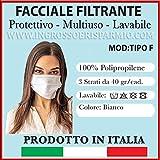 TIPOGRAFIA CASTRIGNAN/Ò 5 Mascherine Nere in Tessuto di Cotone 100/% Lavabili e riutilizzabili