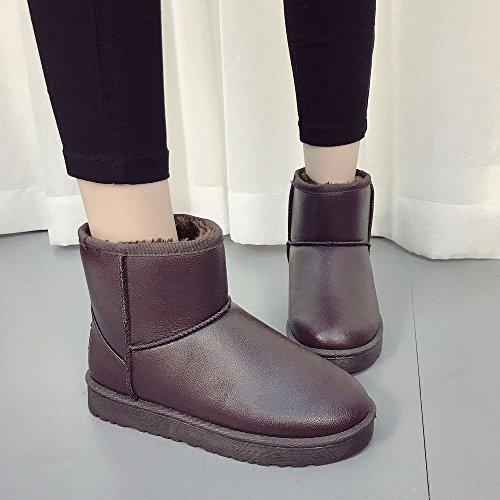 chneeschuhe Weibliche Kurze Rohr Plus Samt Dicke Warme Baumwolle Schuhe Student Stiefel Stiefel,Rotbraun ,37 (Han Solo Stiefel)
