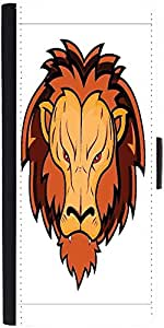 Snoogg Lion Mascot Graphic Snap On Hard Back Leather + Pc Flip Cover Moto-G2