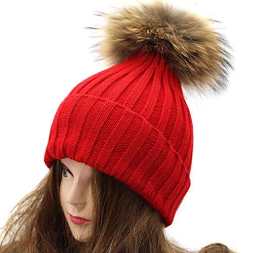 Flechtmuster Kissen (LCLrute Mode Frauen Winter Häkeln HatFur Wolle Strick Beanie Waschbär Warm Cap (Rot))