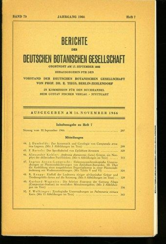 Der Sproßscheitel von Epilobium hirsutum, in: BERICHTE DER DEUTSCHEN BOTANISCHEN GESELLSCHAFT, Heft 7 / 1966.