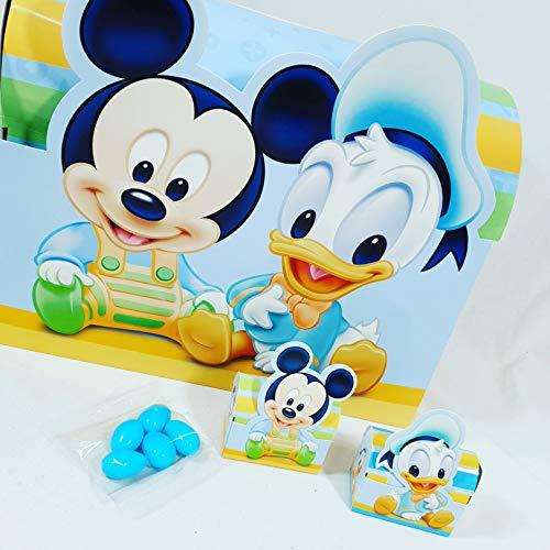 Scatoline portaconfetti bomboniere disney topolino e paperino bimbo battesimo nascita - 30 bauletti + 1 baule + 35 blister di confetti azzurri