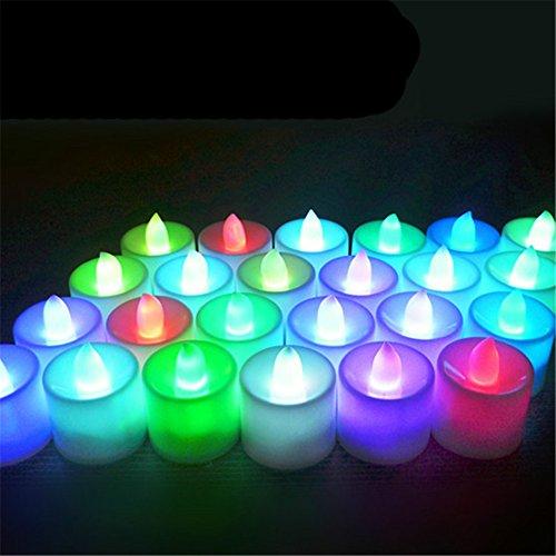 Realistische und helle flackernde Lampe batteriebetrieben Flammenlose LED Tee Licht für Seasonal Festival Celebration, 24Stück, E-Fake Kerze in Warm Weiß und Wave Offene multi