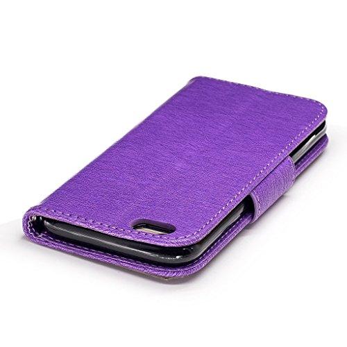 Crisant 3D Kettensägen-Bär Drucken Design schutzhülle für Apple iPhone 6 6S 4.7'' (4,7''),PU Leder Wallet Handytasche Flip Case Cover Etui Schutz Tasche mit Integrierten Card Kartensteckplätzen und St lila