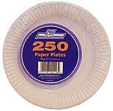 Caterpack piatti di carta, legno, di colore bianco, diametro 18 cm, confezione da 250 pezzi