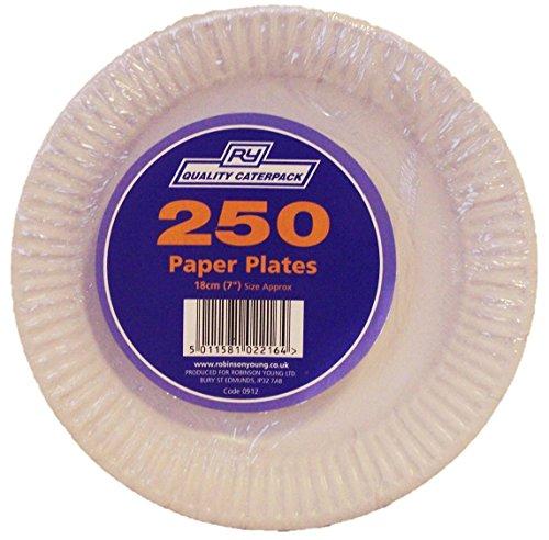 Paquete de 250 platos de papel de Caterpack color blanco, 18cm