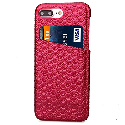 iPhone Case Cover Solid Color Case, Skalierung Muster Hard Cover Zurück mit Card Slot für IPhone 7 Plus ( Color : Rose , Size : IPhone 7 Plus ) Red