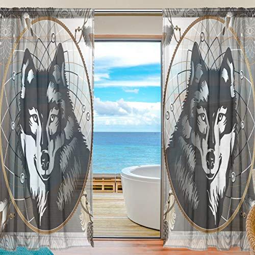 BIGJOKE - Cortinas Transparentes para Ventana, diseño de Lobo, atrapasueños, Cocina, Sala de Estar, Dormitorio, Oficina, Cortina de Gasa, 2 Piezas, 55x84 Inches
