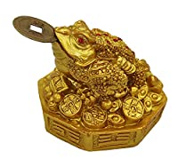 Feng Shui Toad - Golden color      Three Legged Feng Shui Frog   Material - Fiber   Size- 3 x 3   Material - Fiber   Weight - 192gm   ( L X W X H ) - 7.8cm X 7.8cm X 6.5cm   Three Legged Feng Shui Frog- Toad Simply called Feng Shui toad is a...