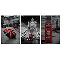 WFLSLH In Prints On Canvas-Hd 3 Pieces Canvas Wall Art Black And White Red London Bus England British Umbrella Telephone Box Picture Big Ben Modern Home Decor Frame Ready Hanging