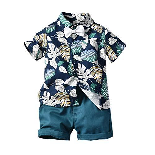 2 Pcs Baby Jungen Bekleidung Set Festliche Kleidung Kleinkind Herren Anzüge Kurzarm Hawaiianischer Stil Blatt druckenShirt + Shorts Hosen Set Gentleman Party Passen(Dunkelblau,80/6-12 Monate)