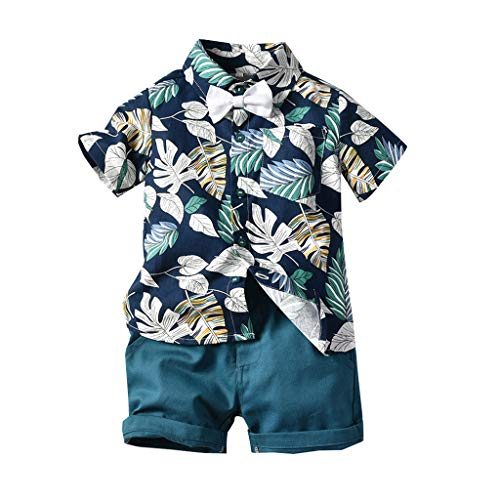 aiyvi Baby Jungen Bekleidungssets, Kleinkind Kinder Baby Jungen Kurzarm Fliege Gentleman Leaf T-Shirt Tops + Shorts Outfits Sommer Nette Casual Bequem