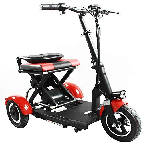 PKJI Mini Triciclo Elettrico Pieghevole, Scooter Elettrico per Adulti per Biciclette elettriche per Adulti in Lega di Alluminio per Biciclette Portatili per Il Tempo Libero, 30 km