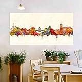 Bamberg Stadt von Kunstbruder Skyline - Wandbild - Farbe (div. Größen) - Kunst Druck auf Leinwand 50x100cm