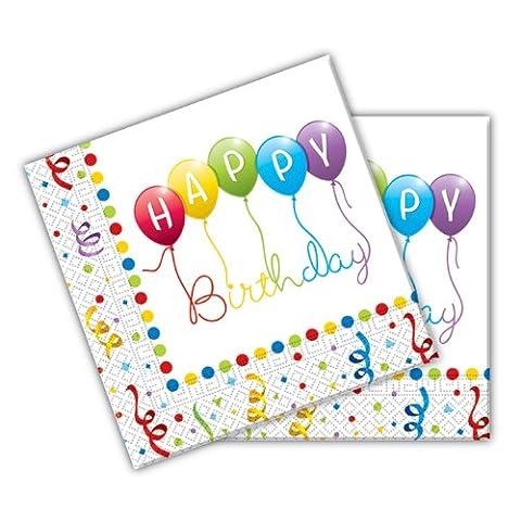 Happy Birthday Servietten 2-lagige Papierservietten 33x33cm