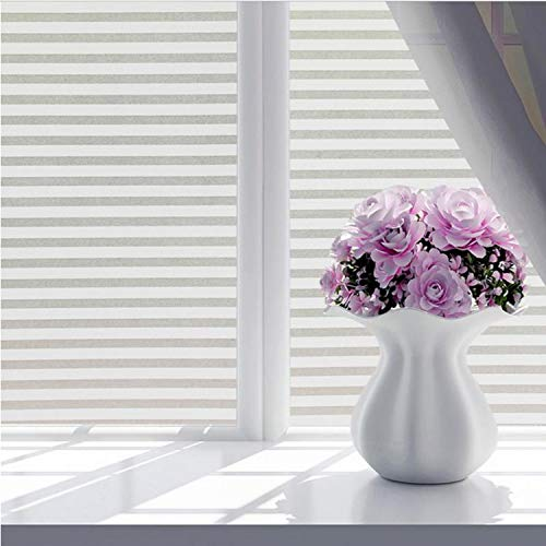 libby-nice Size 45 * 200Cmpvc Frosted Stained White Frosted Line Blind Style Privacy Stripe Window Film Glass Sticker 45 * 100Cm - Libby Stripe