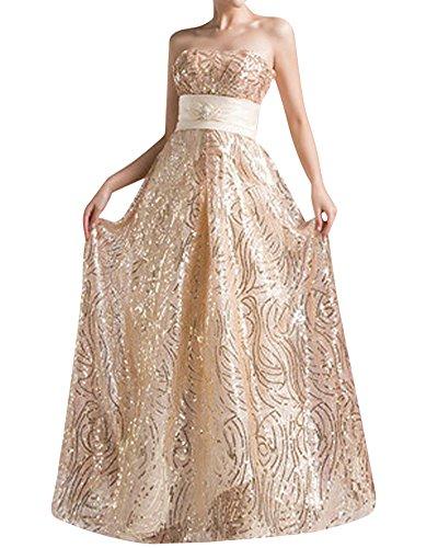 LaoZan Vestiti Collo a V Dietro l'arco senza Maniche Abito da Sera Elegante e Affascinante Champagne