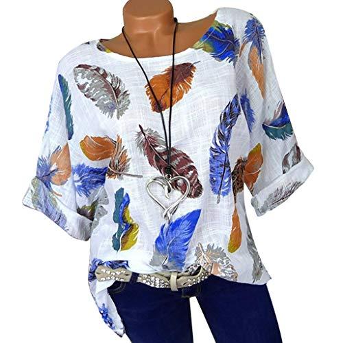 Casual Bluse Shirt Tops Frauen Plus Size Feater Print Dreiviertel-Ärmel Oansatz Pullover Tops Shirt (Verkauf Renaissance-outfits Für)