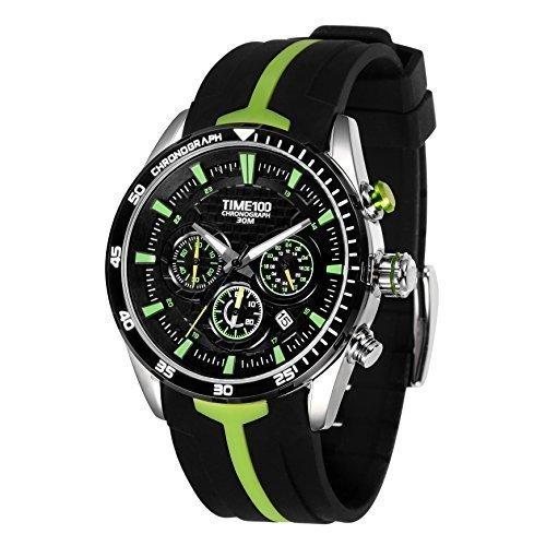 TIME100 W70103G.03A de la moda de silicona de los hombres de la correa de cuero multifunción reloj de