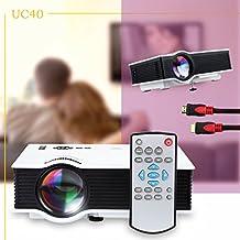 Tera UNIC UC40 Mini Proyector Portátil Multimedia 1080P HD con Mando a Distancia para Cine Vídeo Foto Entrenamiento Negocio Educación+1.5m cable HDMI