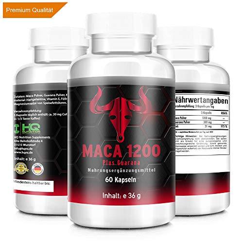 MACA 1200 - HARDCORE Pre Workout BOOSTER - hochdosiert 1200mg - Maca + Guarana + Vitamin E - Potenz - Testosteron Booster - Hergestellt in Deutschland - 60 Kapseln