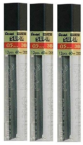 Pentel, Bleistiftminen, 0,5mm, Härte: 3B, Ersatzminen, Hochpolymer, ideal für automatische und mechanische Bleistifte, Packung mit 3Röhren, 36Stück