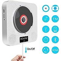 Lettore DVD Bluetooth Lettore CD Parete Bambini MP3 Lettore DVD/CD Radio con Display a LED, Funzione Timing, Telecomando, HDMI, Presa di Alimentazione USB, Jack per Cuffie da 3,5 mm, Bianco