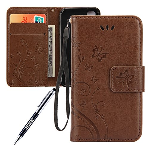 iPhone 4S Custodia, iPhone 4 Custodia, iPhone 4/4S/4G Custodia in Pelle Portafoglio, JAWSEU [Shock-Absorption][Anti Scratch] Lusso 3D Goffratura Fiore Farfalla Wallet Pouch PU Leather Flip Cover Custo Marrone chiaro
