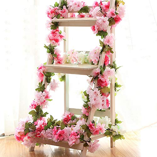 YILIYAJIA Künstliche Lotosblumen Cherry Blossom Girlande Zum Aufhängen Vines Spray Arrangements Faux Sakura Girlande Fake Kranz Home Garden Party Hochzeit Decor Rosarot -