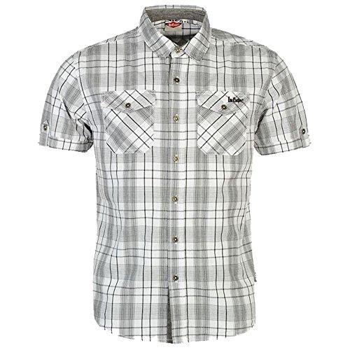 Lee Cooper Herren Hemd mit Brusttaschen, kurzärmelig, kariert, Baumwolle Gr. XXXL, weiß/schwarz