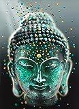 Fipart 5D DIY Diamant-Malerei Kreuzstich Bastelset,Wohnzimmerwandaufkleber Dekor,Buddha(12X18inch/30X45cm)