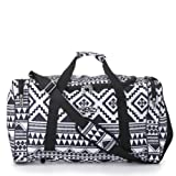 5 Cities® World's lightest (only 0.5kg!) Cabin Size holdall -fits Ryan Air/Easy Jet 55 x 40 x x 20 -flight bag. Actual dimension 54x30x20, Massive 32l Capacity (Aztec Black/White)