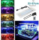 BELLALICHT Aquarium LED Beleuchtung, Aquariumbeleuchtung Lampe aus Aluminium Acrylglas 16 Farben Bunt mit Befestigungsklammer für 33cm-57cm Aquarium