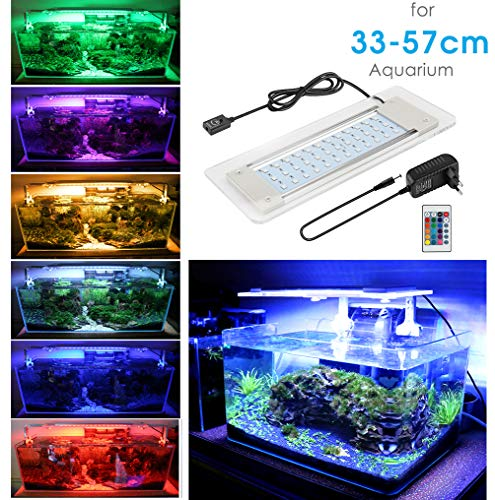 BELLALICHT Eclairage Aquarium Lampe 48 LEDs 16 Couleurs Coloré Lumières d'eclairage Fish Tank Lighting Rampe LED pour 33-57 cm Aquarium