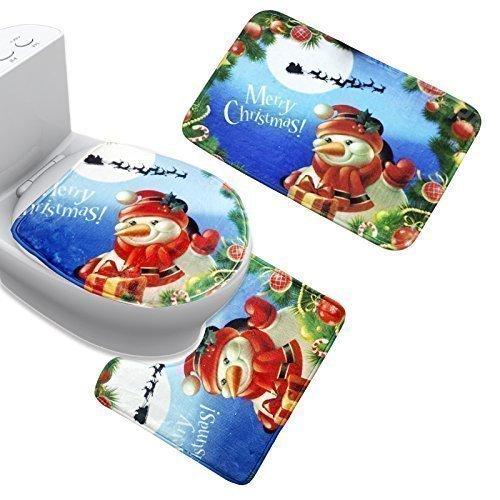 Uomere bleu Joyeux Noël bonhomme de neige Tapis de bain Ensemble pour salle de bains et cuisine
