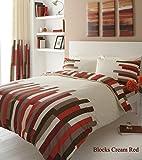 select-ed  de Lujo bloques diseño de funda de edredón juego de ropa de cama o cortinas a juego negro / gris Talla:king Size