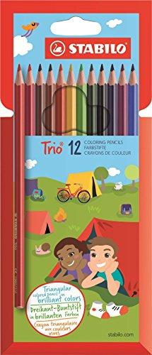Dreikant-Buntstift - STABILO Trio - 12er Pack - mit 12 verschiedenen Farben