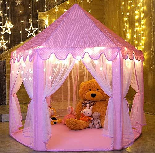 Mädchen Spielen Zelt Hexagon Princess Castle House Palace Zelte Kinderspielhaus mit Sternenlicht für Innen und Außen (Pink),Pink