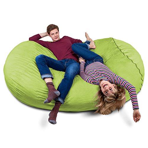 Riesiger Giga Sitzsack in Grün mit Memory Schaumstoff Füllung und Waschbarem Velour Bezug - Gemütliches Sofa, Riesen Bett, Kuschelige Liege, Bean Bag für Kinder, Teenager und Erwachsene
