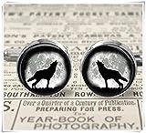 Cufflinks - Wolf Howling at Moon Bronze Silver - 16mm - Gift