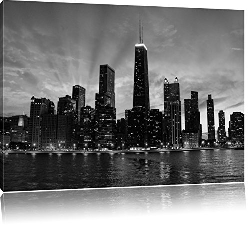 Wunderbare Chicago-Wolkenkratzer-Silhouette bei Sonnenuntergang Kunst B&W, Format: 120x80 auf Leinwand, XXL riesige Bilder fertig gerahmt mit Keilrahmen, Kunstdruck auf Wandbild mit Rahmen, günstiger als Gemälde oder Ölbild, kein Poster oder Plakat