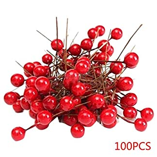 Mengonee 100pcs Artificial Espuma Rojo vívido Bayas del Acebo Inicio decoración de Navidad Guirnalda Floral Bouquet de Frutas Berry