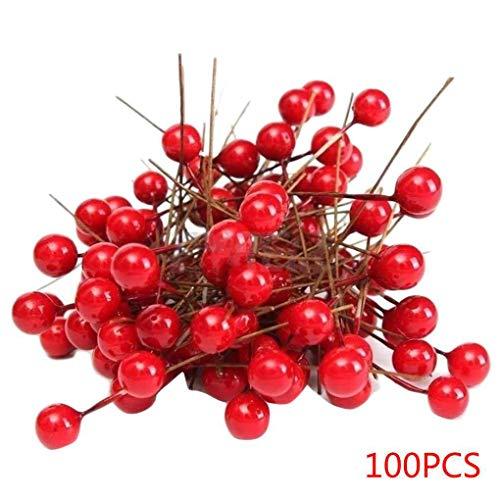 Morza 100pcs 8mm Artificiale Rosso Bacca Albero di Natale Appeso Decor Xmas Ornament