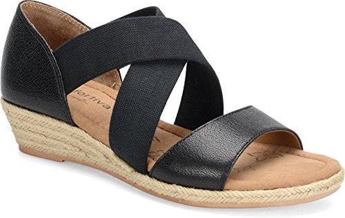Comfortiva Brye Femmes Cuir Sandales Compensés Black