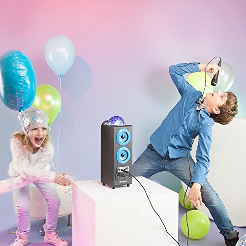 auna DiscoStar Blue • 2.1 Bluetooth-Lautsprecher • Radio • UKW-Radiotuner • 30 Speicherplätze • MP3 • SD • USB • Mini-USB • AUX • Mikrofon • LED-Lichteffekt • Akku • tragbar • blau - 2