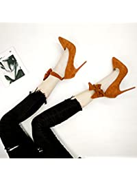 GAOLIM Stilettos Primavera Verano Hembra Negro Rojo Novia Zapatos De Boda Zapatos De Punta 10Cm9 Zapatos, Boca...
