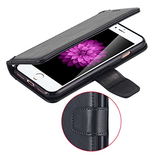 iPhone 7cellulare, iPhone 7Case, lontect Cover Premium PU Custodia in pelle Flip Case Portafoglio Cover per Apple iPhone 7 nero