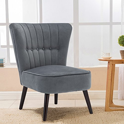 Warmiehomy Modern Velvet Occasional Chair Buttoned Chair Upholstered Accent Chair with Oak Legs for Bedroom Living Room Hallway (Steel Blue)